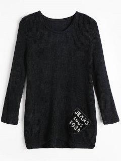 Langer Pullover Mit Buchstaben Und Tasche - Schwarz
