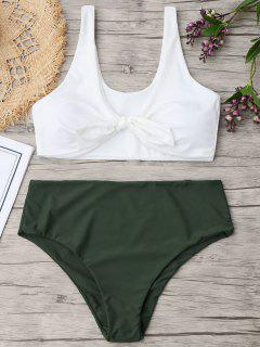 Two Tone Plus Size Tied Bikini - Army Green Xl