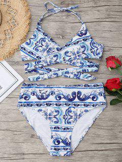 Printed High Cut Plus Size Wrap Bikini - Blue And White Xl