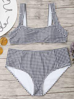 Square Neck Checked Plus Size Bikini - White And Black 2xl