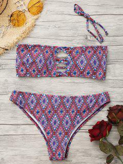 Halter Argyle Riemchen Bikini Set - L