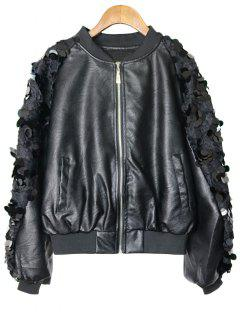 Zip Up Faux Leather Sequined Jacket - Black M