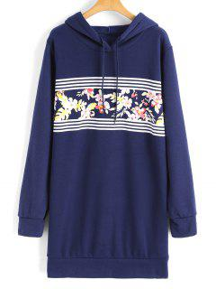 Longline Floral Stripes Panel Hoodie - Blue S