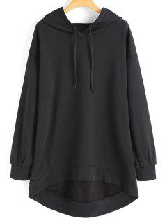 Drawstring Longline High Low Hoodie - Black S