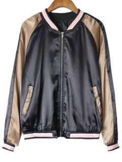 Embroidered Zip Up Sukajan Jacket - Black