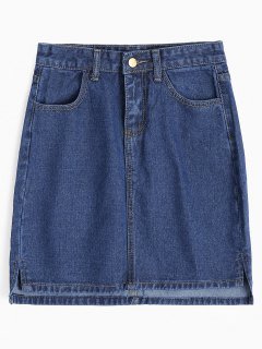Side Slit Mini Denim Skirt - Denim Blue M