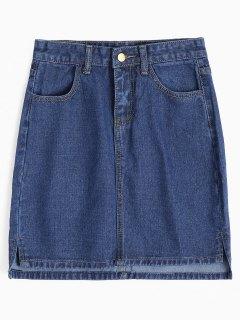 Mini-jupe En Jean à Fentes Latérales - Denim Bleu M