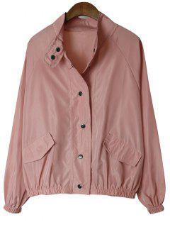 Übergröße Druckknopf-Jacke - Pink