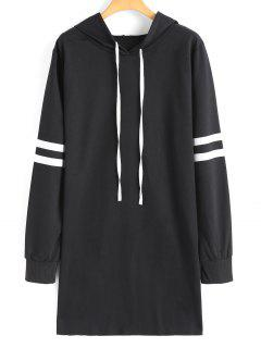 Drawstring Longline Ribbons Trim Hoodie - Black S