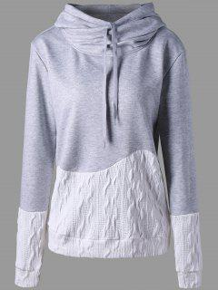Patchwork Drawstring Pullover Hoodie - Gray M