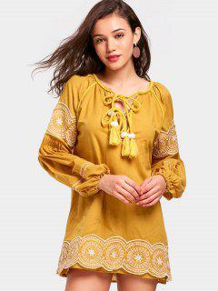 Quasten Bowtie Kragen Mini Shift Kleid - Ingwer-gelb S
