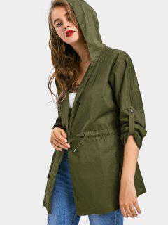 Drawstring Waist Hooded Coat - Army Green M