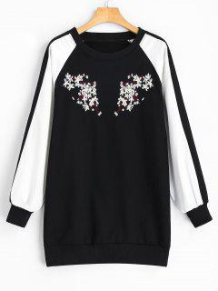 Longline Two Tone Embroidered Sweatshirt - White And Black L
