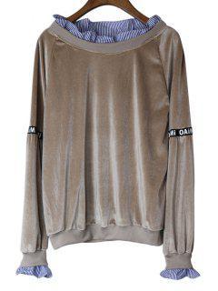 Loose Stripes Panel Velvet Sweatshirt - Greyish Brown