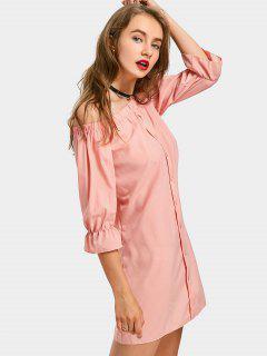 Off The Shoulder Tunika Kleid - Orange Pink  M