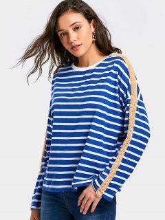 Kunstpelz Verziert Gestreiftes T-Shirt - Blau S