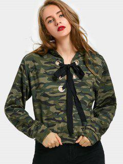 Drawstring Camouflage Floral Embroidered Hoodie - Army Green S
