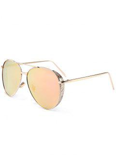 Outdoor Metal Frame Carved Pilot Sunglasses - Pink