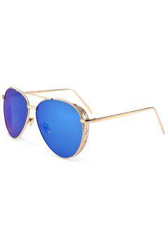 Outdoor Metal Frame Carved Pilot Sunglasses - Sea Blue