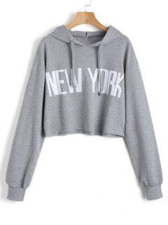 Cropped New York Tunic Hoodie - Gray M