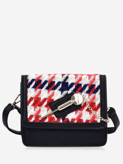 Metall Detail Farbige Houndstooth Crossbody Tasche - Rot