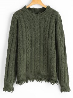 Distressed Cable Knit Sweater - Army Green