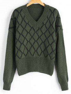 Argyle V Neck Sweater - Army Green