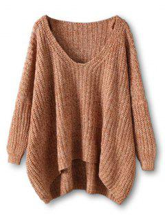 Chunky V Neck Oversized Sweater - Coffee