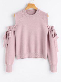 Cold Shoulder Self Tie Bowknot Sweater - Pink