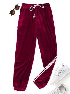 Velvet Drawstring Pants - Burgundy S