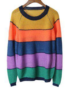 Raglan Ärmel Streifen Pullover Pullover - Streifen