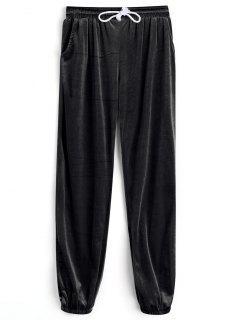 Velvet Drawstring Pants - Black S