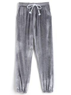 Velvet Drawstring Pants - Light Gray M