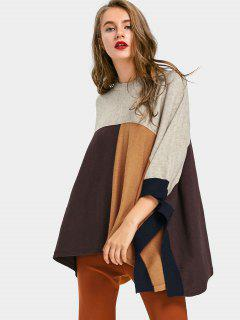Patchwork Crew Neck Poncho Sweater
