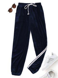 Pantalons En Velours Avec Cordon De Serrage   - Bleu Foncé S