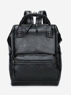 Top Handle Pebbled Faux Leather Backpack - Black