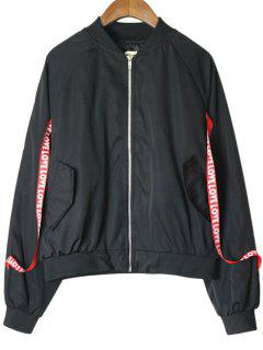 Zip Up Lace Up Letter Bomber Jacket - Noir