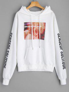 Letter Graphic Hoodie - White L