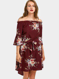 Hoch Niedrig Blumen Schulterfrei Eine Linie Kleid - Weinrot S