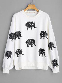 Drop Shoulder Elephant Print Sweatshirt - White