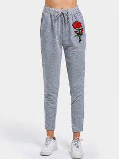 Rose Applique Drawstring Pants - Gray S