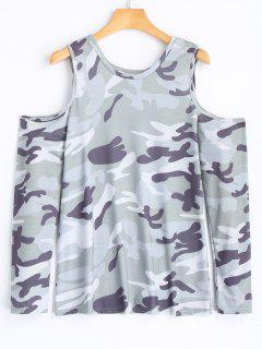 Camo Cold Shoulder Tee - Camouflage S