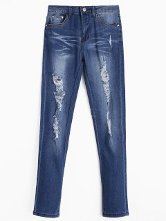Zippered Ripped Jeans With Pockets - Deep Blue S