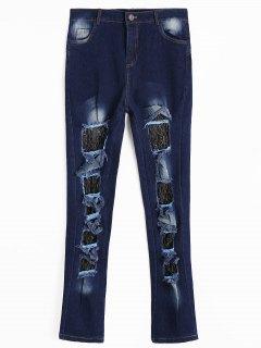 Lace Panel Cut Out Jeans - Deep Blue 2xl