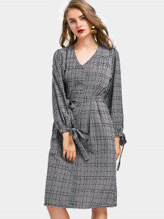 Belted Button Up Checked Shirt Dress - Checked
