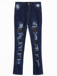 Lace Panel Cut Out Jeans - Deep Blue S