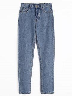 Jeans Rectos Con Cremallera Y Bolsillos - Azul Denim L