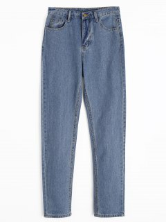 Zipper Fly Straight Jeans With Pockets - Denim Bleu M