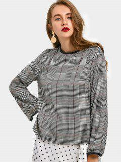 Houndstooth Faux Leather Panel Blouse - Checked L