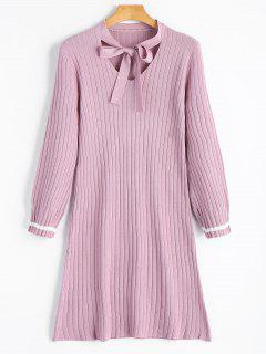 Bow Tie Collar Knitted Dress - Pink